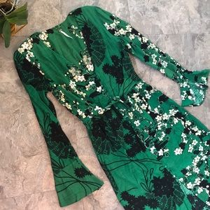Gorgeous free people green floral button front